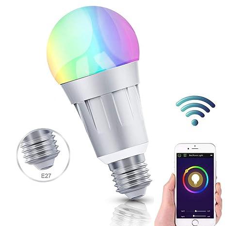 Smart Wifi bombilla, feyg Smart LED luz bombillas E27 B22 RGB Color funciona con Amazon