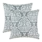 Pack of 2 CaliTime Throw Pillow Covers 18 X 18 Inches, Vintage Damask Print, Grey
