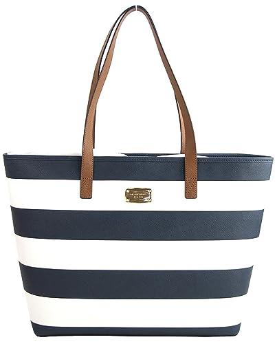 Amazon.com  Michael Kors Americana Striped Saffiano Leather Travel Tote   Navy White  Shoes 193b7cc59e