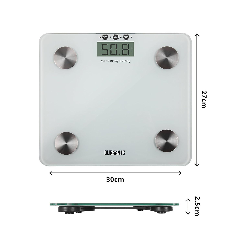 Duronic BS301 Báscula de Baño Digital de Alta Precisión Análisis de Masa Corporal Índice de Grasa, Porcentaje de Masa Muscular, Porcentaje de Líquidos, ...