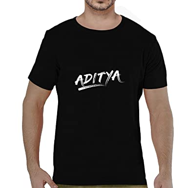 b16d518a1054 Pooplu Mens Aditya Cotton Printed Round Neck Half Sleeves Black   White T- Shirt. Common Names