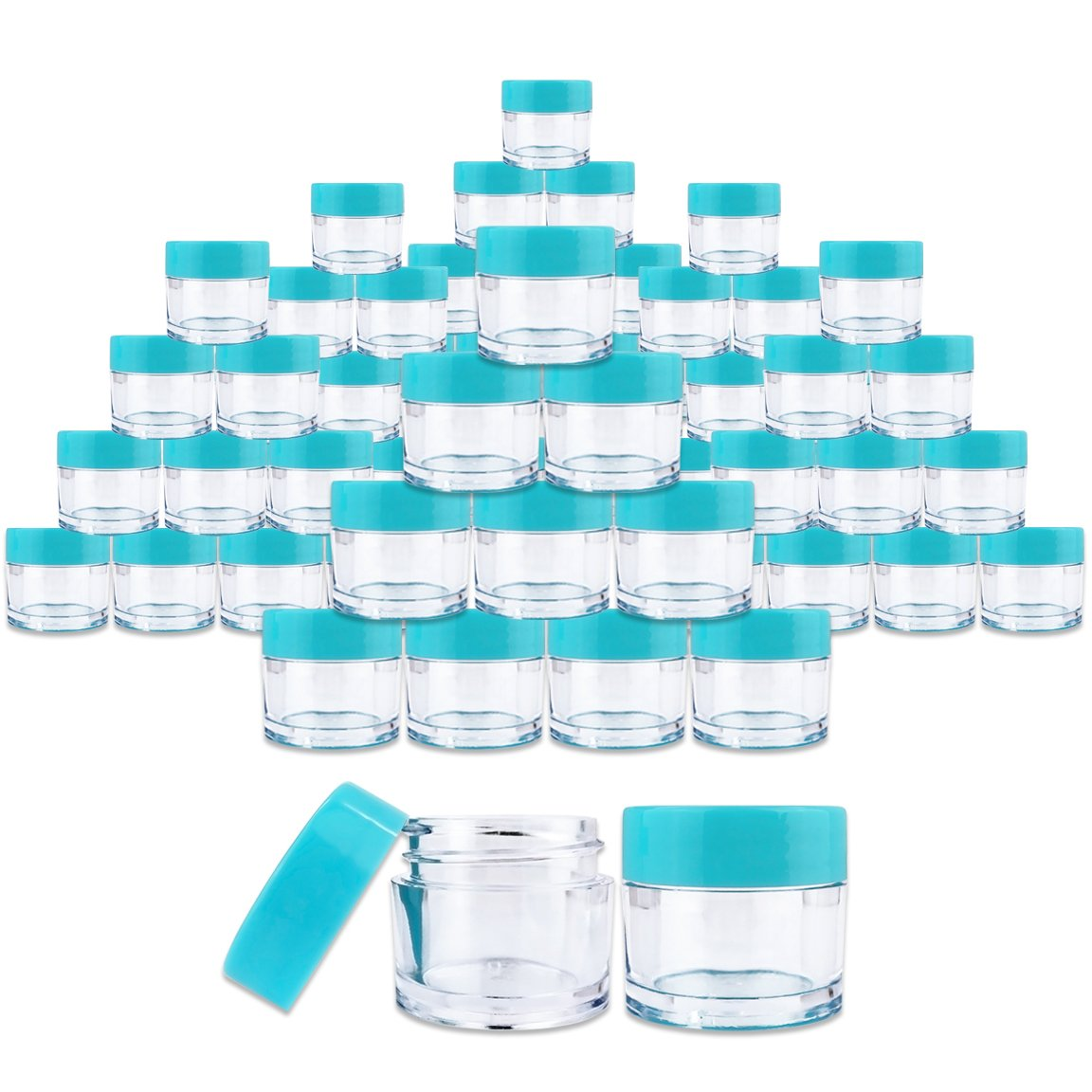 Beauticom 7 Gram 7 ML Quantity 60 Pieces Thick Wall Round Leak Proof Clear Acrylic Jars with Teal Lids for Beauty, Cream, Cosmetics, Salves, Scrubs