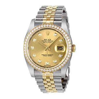 32754d38ae0 Image Unavailable. Image not available for. Color  Rolex Oyster Perpetual  Datejust 36 Champagne Dial Stainless Steel and 18K Yellow Gold Rolex Jubilee  ...