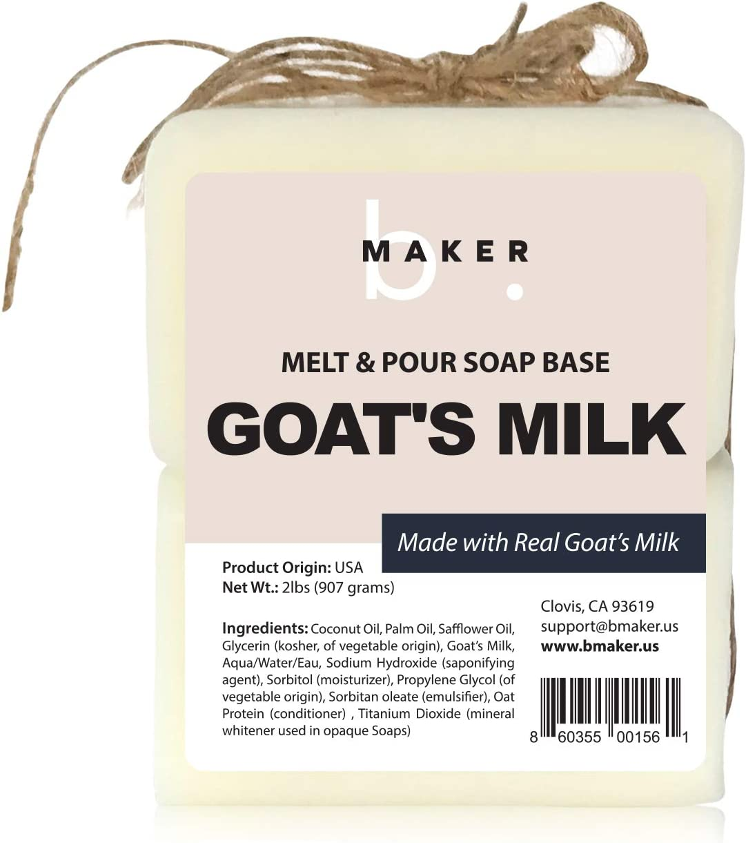 bMAKER All-Natural Goats Milk Melt and Pour Soap Base (2lb Blocks) - Moisturizing and Nourishing M&P Base Soap Making Supplies - Suitable for Sensitive or Dry Skin: Arts, Crafts & Sewing