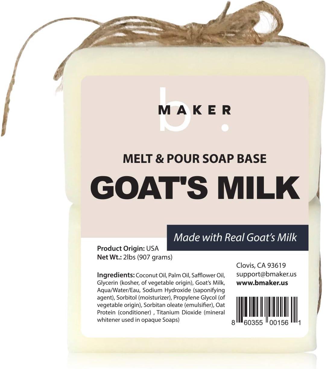 bMAKER All-Natural Goats Milk Melt and Pour Soap Base (2lb Blocks) - Moisturizing and Nourishing for Skin, Soap Making Supplies, Goat Milk Soap, Soap Base for Soap Making Melt and Pour