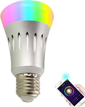 Smart Light Bulb Works With Echo Alexa Wifi Led Dimmable Rgb Color Changing Lamp 7w E27 Wireless Wifi Remote Control Amazon Com
