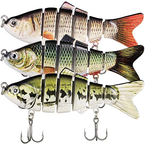 TRUSCEND Swimbaits Glide Baits for Bass Fishing Lures Crankbait Jointed Trout Swimbait with Mustad Hooks (Combo)