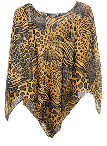 Chiffon Casual Poncho in Variety of Prints, One Size for XS-XL, Style#PN-02 (Golden Animal)