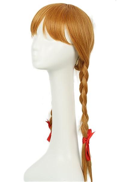 Mesky Peluca de Annabelle para Mujeres Disfarz de Niña Larga con Trenzas Wig Long para Cosplay de Terror Vestido Casual con Redecilla Pelo Natural: ...