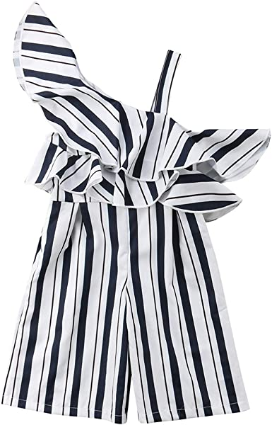 3-10Y Toddler Kid Baby Girl Summer Cotton One Off Shoulder Sleeveless Striped Romper