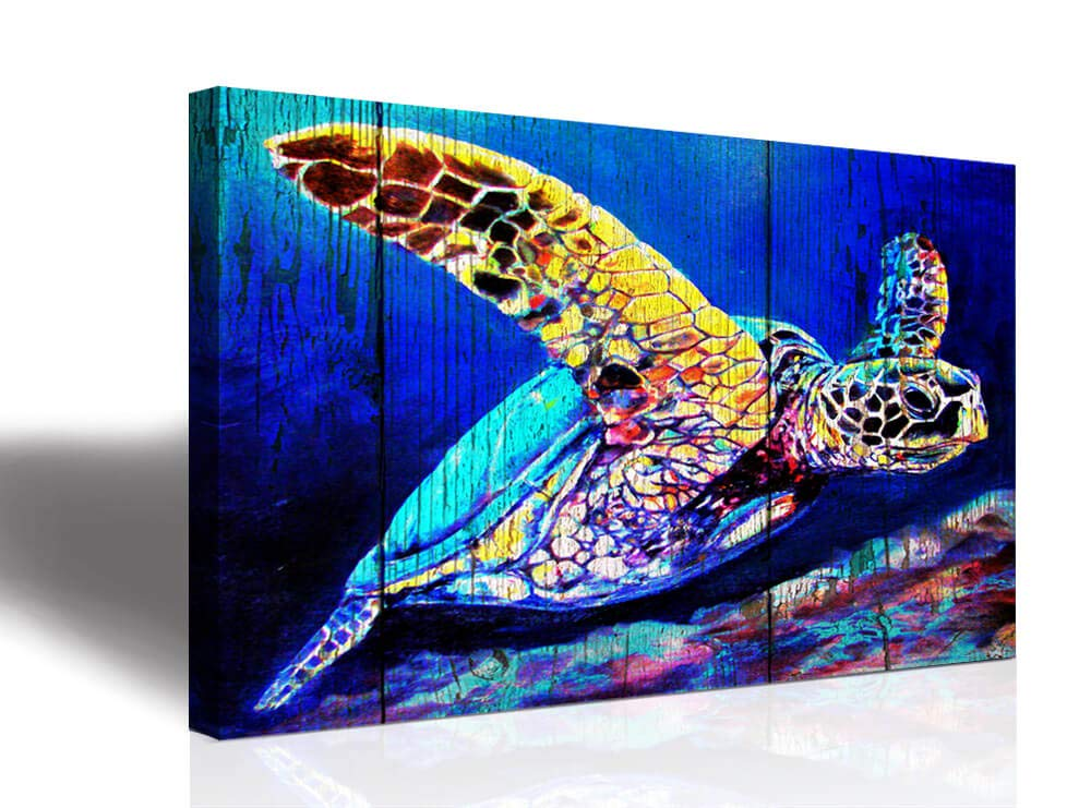 sea Turtle Home Wall Art Decor - Ocean Theme Mediterranean Style Canvas Prints Framed and Stretched Ready to Hang Sea Animal Turtle Posters Bathroom16x24inchx1Canvas print art decoration hanging