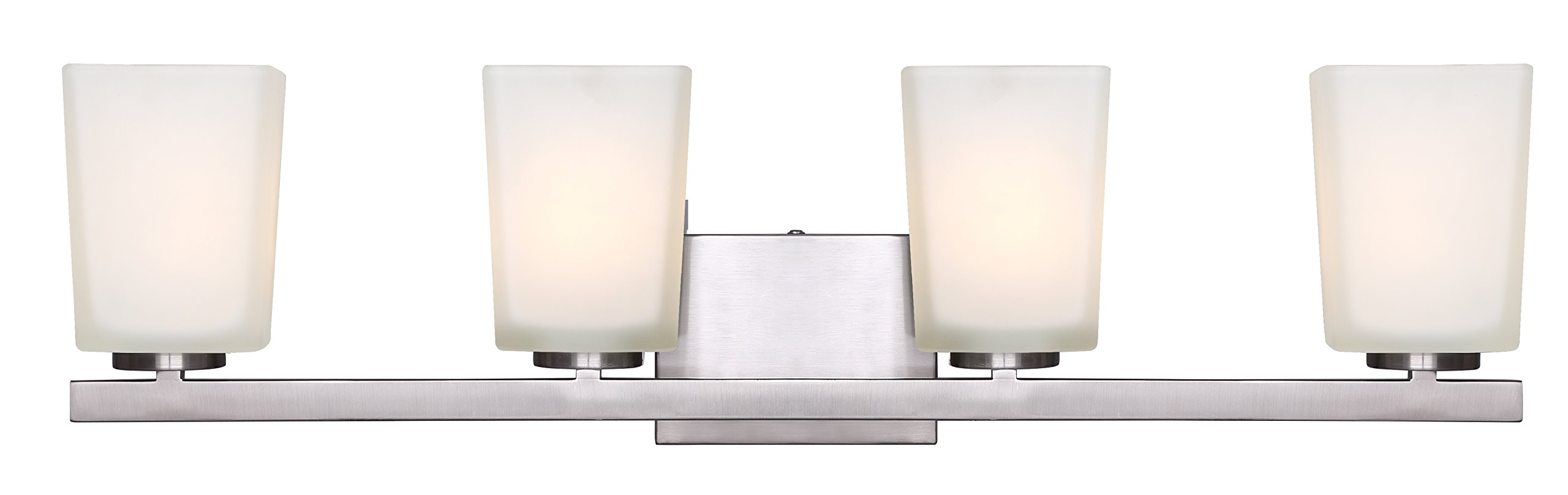 Canarm IVL472A04BN Hartley 4 Light Vanity with Flat Opal Glass, Brushed Nickel by Canarm