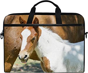Laptop Case Shoulder Bag Sleeve for 15 Inch Notebook Computer Protable Carrying Nature White Farm Animal Cute Portrait Protective Briefcase
