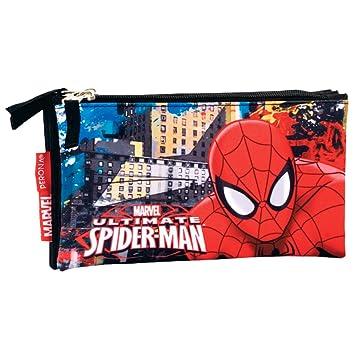 Spiderman Estuche portatodo Triple Plano, 22 cm Montichelvo ...