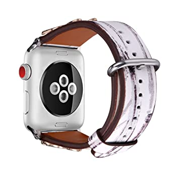 Bracelet Apple Watch 38MM Séries 3/2/1 Bandmax iWatch Band en Cuir de Véritable Souple ...