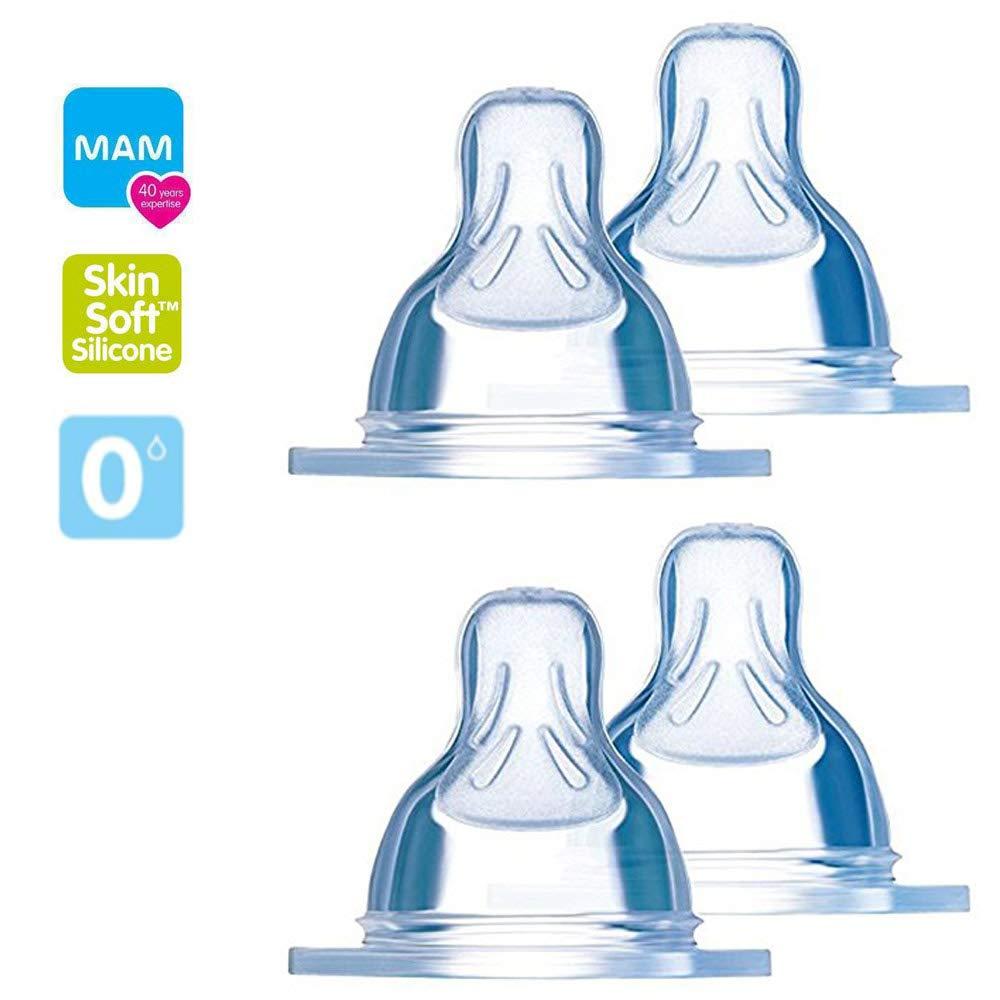 0m+ para leche de madre /& F/órmula para beb/é 1 MAM Tetina 0 Pack de 4 tetinas para biber/ón flujo reci/én nacido