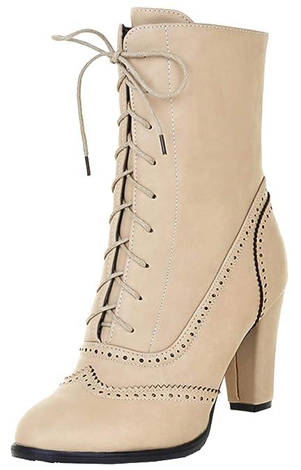 Scothen Femme Automne Hiver Rivets Plateau Bottes Chaussures