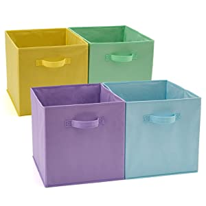 EZOWare Set of 4 Foldable Fabric Basket Bin, Collapsible Storage Cube Boxes for Nursery Toys (13 x 15 x 13 inches) Assorted Color