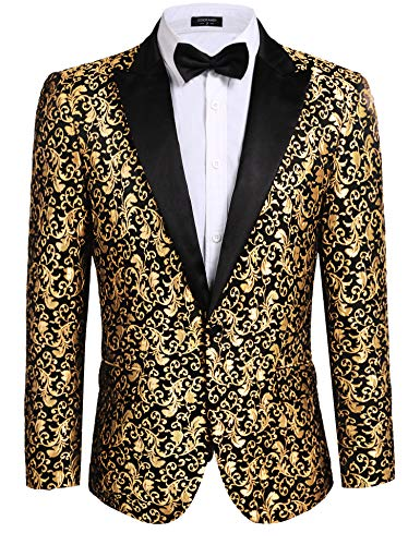 COOFANDY Men's Floral Party Dress Suit Stylish Dinner Jacket Wedding Blazer Prom Tuxedo Golden Yellow