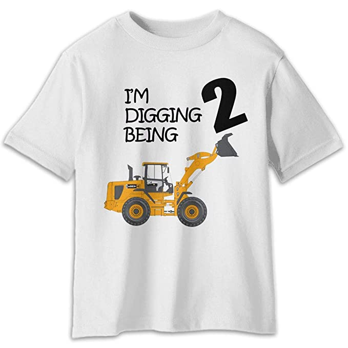 2nd Birthday Bulldozer Child Short Sleeve Tees Boys Girl Crew Neck T Shirt 100 Cotton