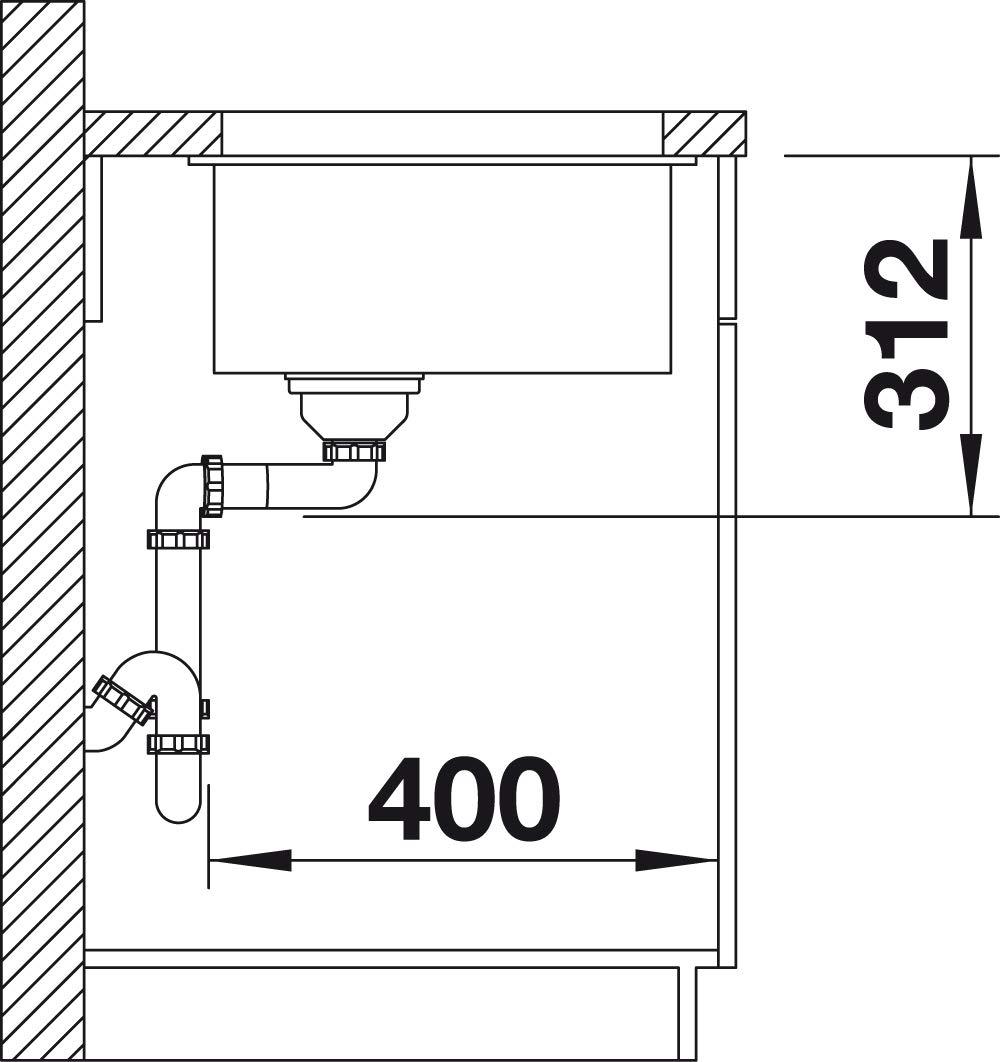 Blanco subline 700/de U 523/443/Cocina Fregadero Felsgrau