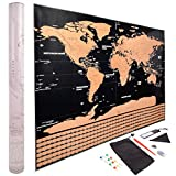 "Scratch Off World Map Poster - Gold and Black with All U.S. States and Countries Outlined - Includes Country Scratch Off Flags Plus Accessories (Large 32"" x 23"")"