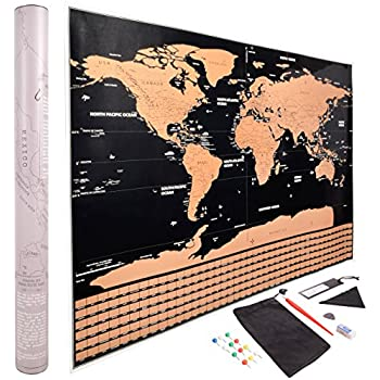 Amazon scratch off world map poster gold foil large size scratch off world map poster gold and black with all us states and countries outlined includes country scratch off flags plus accessories large 32 x gumiabroncs Gallery