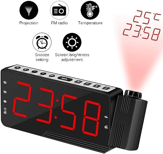Winbang Reloj Despertador de Proyección, Reloj de Radio FM ...