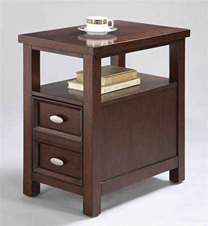 ADF Chair Side Table With 1 Drawer, Cherry Finish