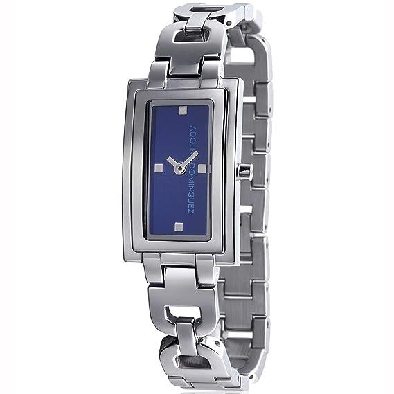 736768bee104 Adolfo Dominguez Watches 69013 - Reloj de Señora cuarzo brazalete metálico  dial Azul  Amazon.es  Relojes