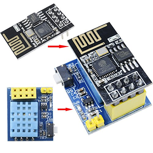 Price comparison product image Aideepen ESP8266 ESP-01S Serial Wireless Transceiver+DHT11 Temperature Humidity Monitor Shield Sensor Wifi Module Adapter Board
