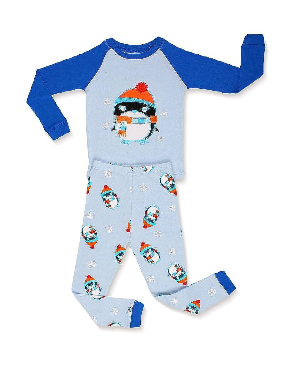 Elowel Little Boys'penguin' 2 Piece Pajama Set 100% Cotton (Size6M-12Y) Christmas bpanguin6-12m