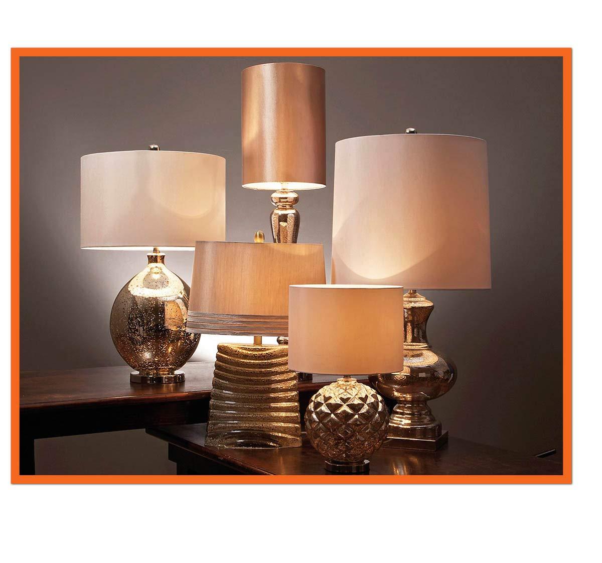 Urban Designs 1310668 Regina 40-Inch Tall Antique Mercury Glass Table Lamp Silver