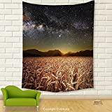 Vipsung House Decor Tapestry_Space Decor Wheat Field Meadow Under Galaxy Clusters Twilight Harvesting Rural Art Print Tan Grey_Wall Hanging For Bedroom Living Room Dorm