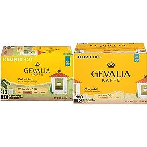 Gevalia Colombian Blend Medium Roast K-Cup Coffee Pods (72 Pods, 6 Packs of 12) & Colombia Blend Medium Roast K-Cup Coffee Pods (100 Pods)
