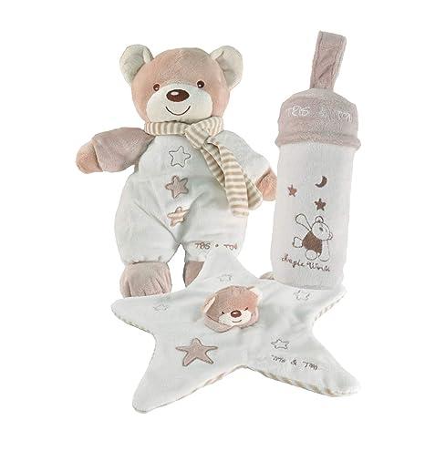 Tris & Ton Pack regalo recién nacido peluche doudou portabiberon cesta original niño niña (tridyton