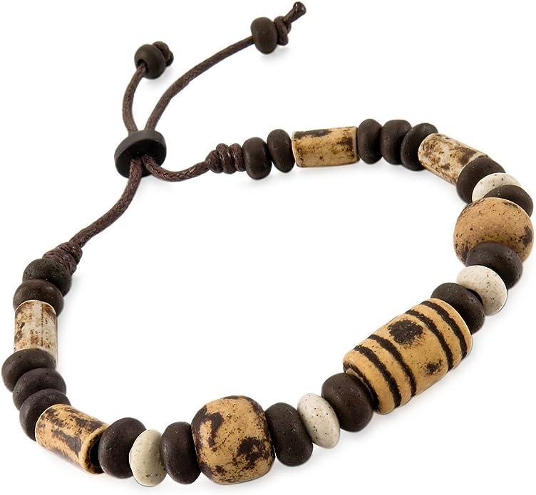 MunkiMix C/éramique Bracelet Lien Poignet Corde Corde Surfer R/églable Enveloppez Enrouler Tribal Homme,Femme