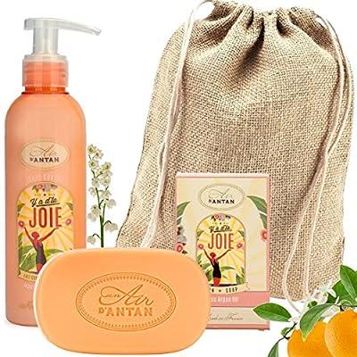 Französisches Beauty Set JOIE/Un Air D'Antan® 1 Stück Seife 100g Mit Bio Ölen/1 Bodylotion 200ml In Einem Jutebeutel…