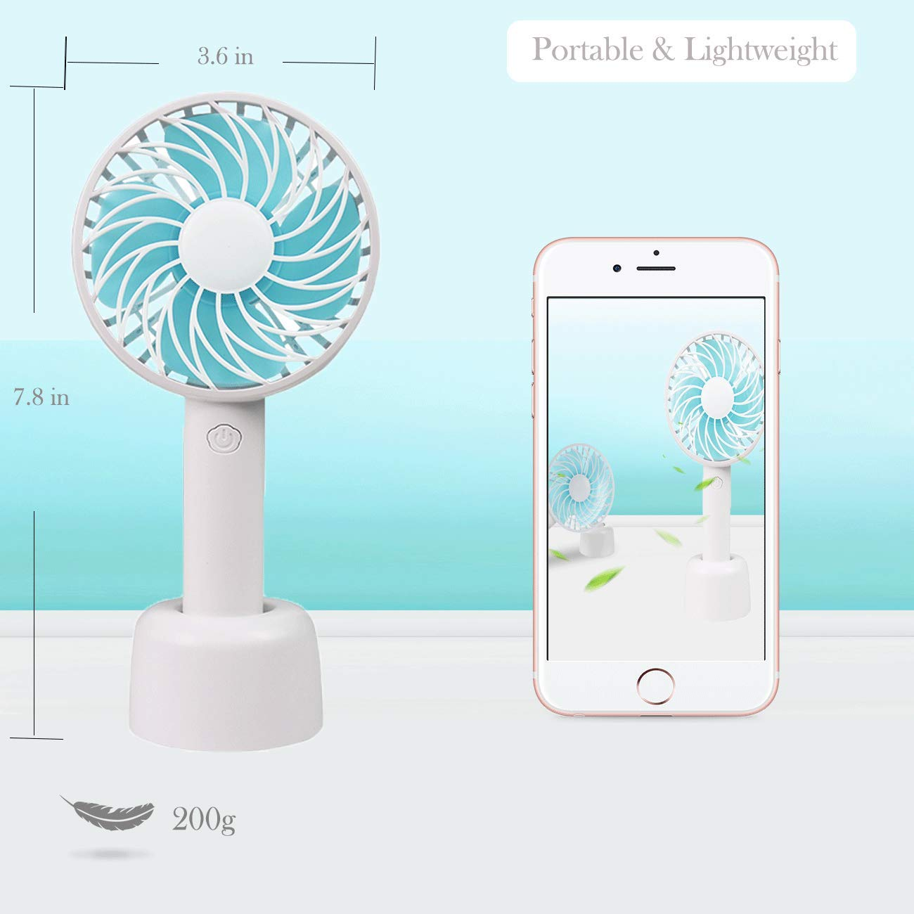 White . Desk Handheld Mini Fan,USB Desk Fan,Battery Operated Personal Fan,3 Speeds Support Wireless /& Micro USB Recharging for Home Traveling Office Outdoor Household Room