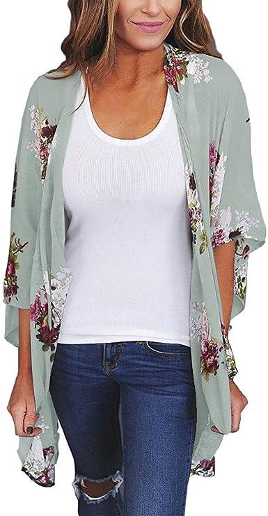 DEELIN Moda De Las Mujeres Gasa Suelta Chal ImpresióN Kimono Cardigan Tapa De La Blusa De Ropa De Playa: Amazon.es: Ropa y accesorios