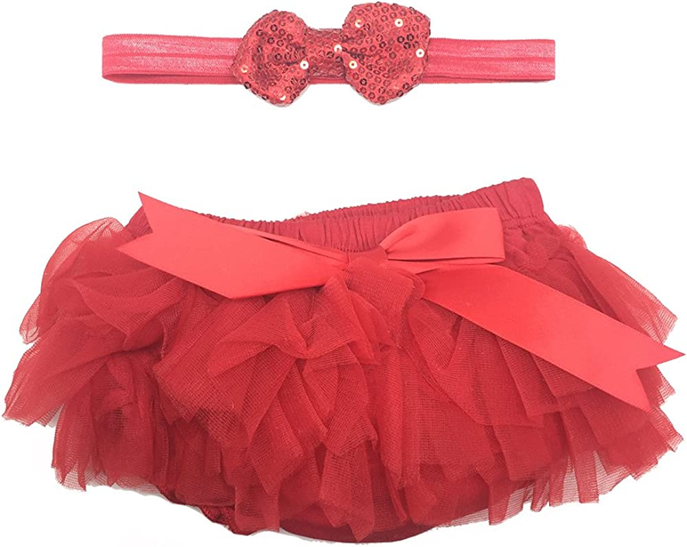 Cutie Baby Girls Ruffle Infant Diaper Cover Bloomers Headband Set