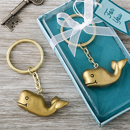 124 Whale Design Bronze Key Chains Baby Shower Favors by Fashioncraft