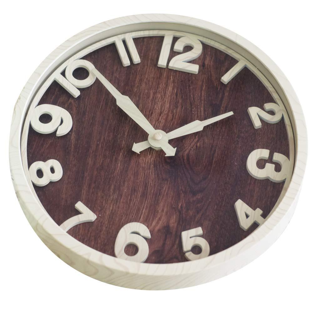 Dark Wood Grain 007-3036 007-Dark Wood Grain-3036 SUN-E 10 Inch Silent Non-Ticking Clock Decor Modern Wall Clocks Decorative for Kitchen Living Room Home Office School,Classic Wood Grain