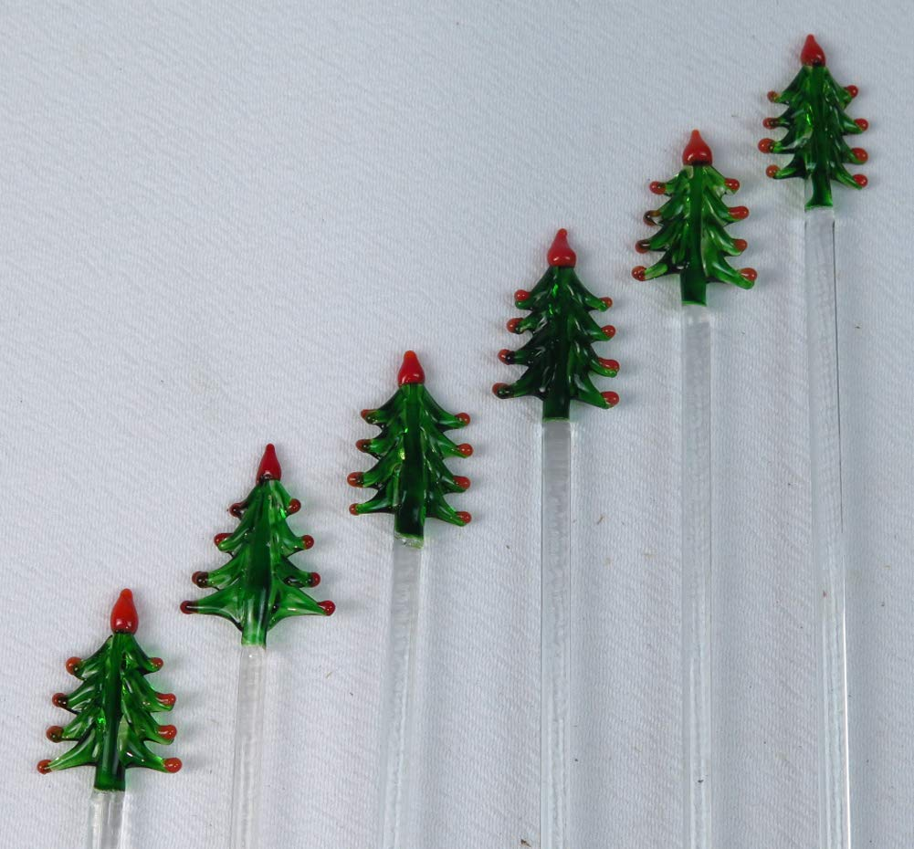 Christmas glass stir sticks from Mexico, Christmas Tree design, set of 6, hand made by Mexican Glasses