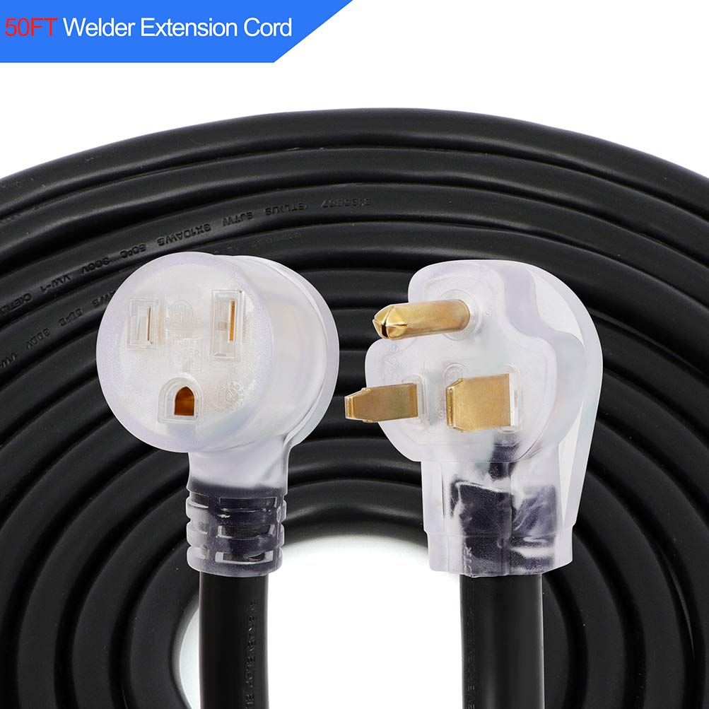 Dollate 50 A STW Welding Without LED Indicator Cord 50 FT Welder Extension Cord with Nema 6-50 Plug 10 Gauge 3 Prong Heavy Duty Industrial Welding Machine Cord 60 Hz