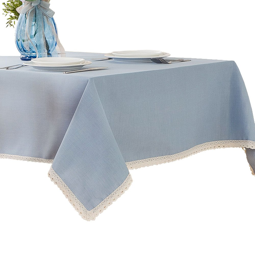 R.LANG Solid Color Heavy Weight Fabric Tablecloth Oval 60 x 84-inch Spillproof Jacquard Tablecloth Light Blue