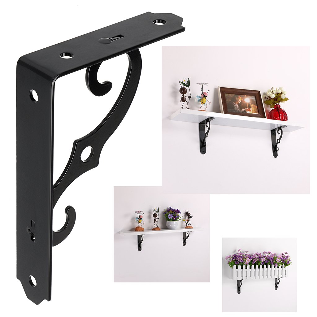 Sumnacon Decorative Wall Shelf Brackets, 2 Pack Heavy Duty Corner Brace Shelf Supporter for Bookshelves, Bedroom/Kitchen/Office Shelves, Metal Brackets with Hardware Screws 5 Inch X 3 1/2 Inch (Black) by Sumnacon (Image #4)