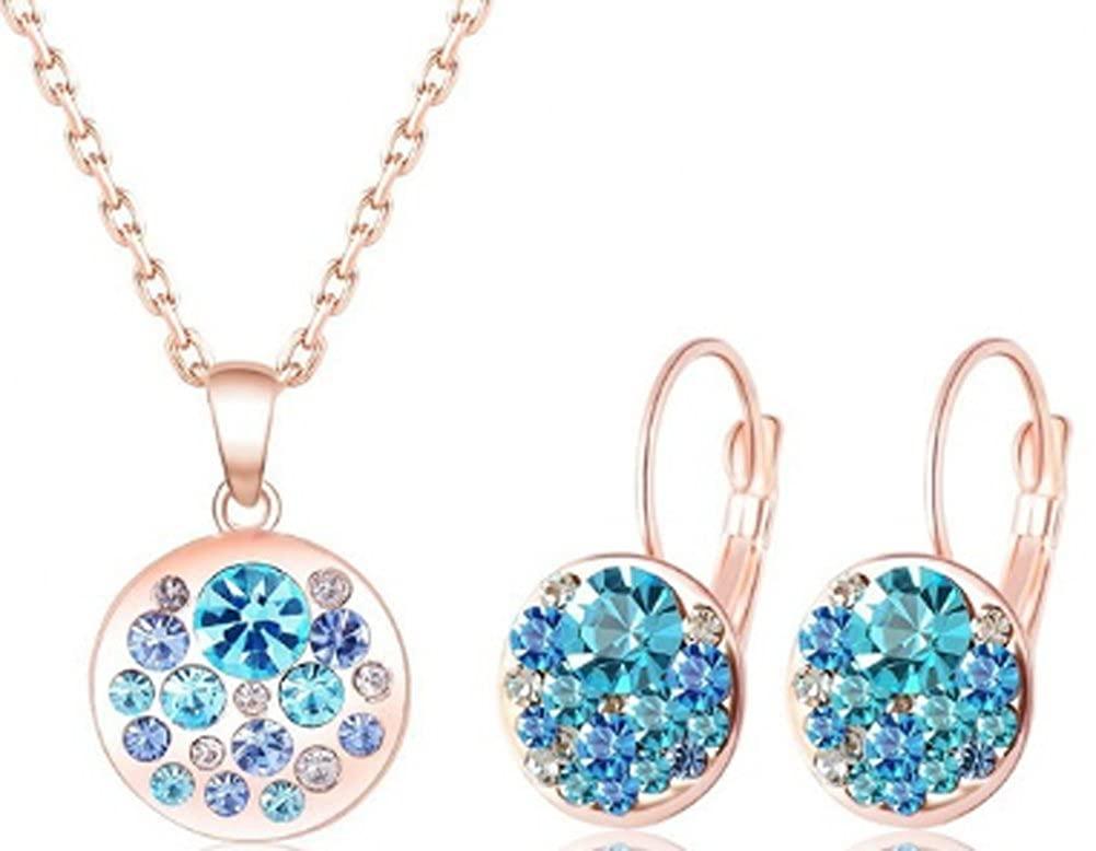 Round Blue Crystal Set Rose Gold Plated Pendants Chariot Trading