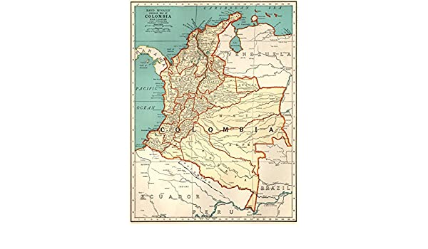 Amazon.com: 1941 Antique Colombia Map Original Vintage Map of Colombia South America Print Not a Reprint Home Office Decor Gallery Wall Art #1194: Posters & ...