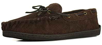 New Mens/Gents Brown Suede Leather Moccasin Slippers - Brown - UK SIZES 6-12 quality